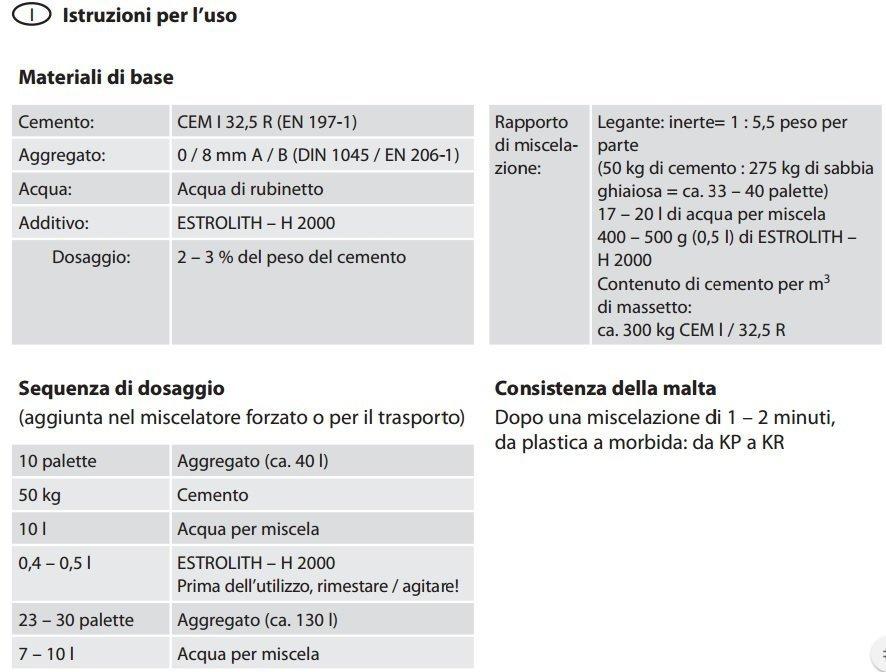 Istruzioni per l'uso dell' Additivo per Massetto Daikin Estrolith H2000